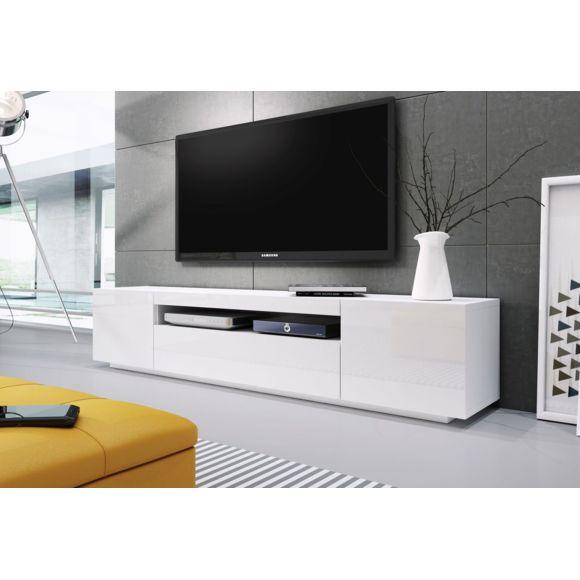 meuble tv blanc laqué