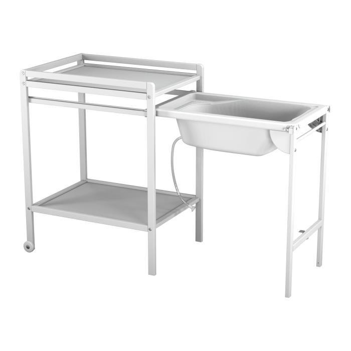 table à langer baignoire coulissante